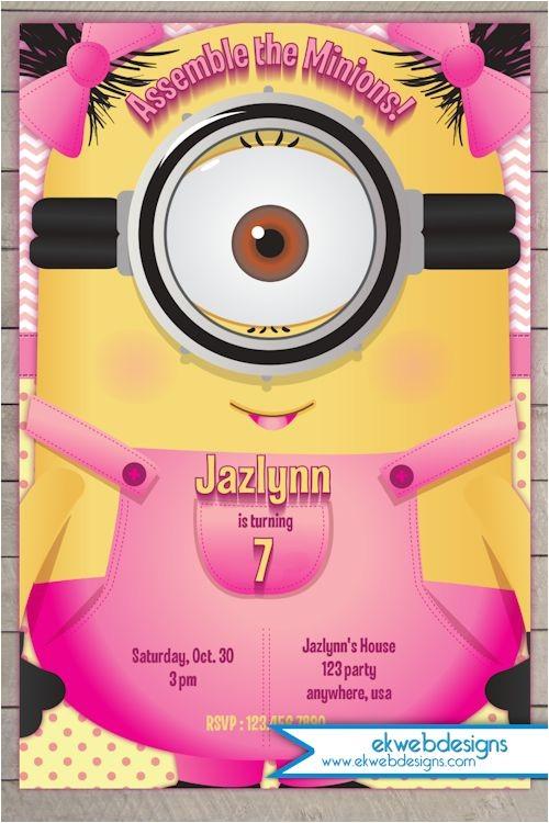 Girl Minion Birthday Party Invitations Minion Girl Birthday Invitation 2015 Minion Movie