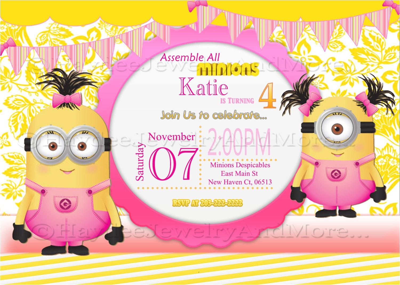 minions girls birthday card invitation