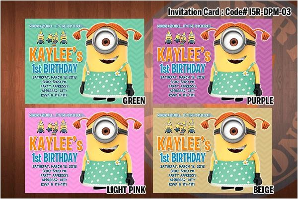 personalized girl minion despicable me printable birthday party invitation for despicable me birthday 5x7 choose 1 color