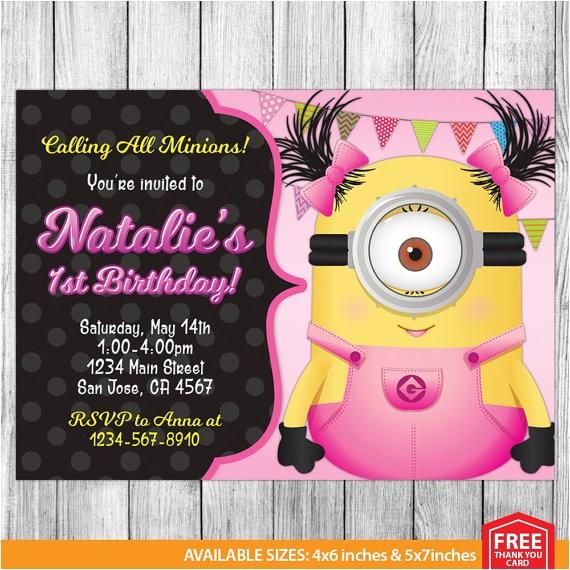 girl minion invitation girl minion ref market