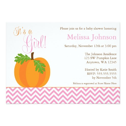 chevron pumpkin fall girl baby shower invitation