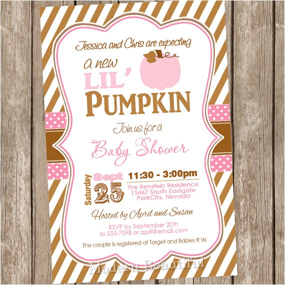 fall pumpkin girl baby shower invitation 2