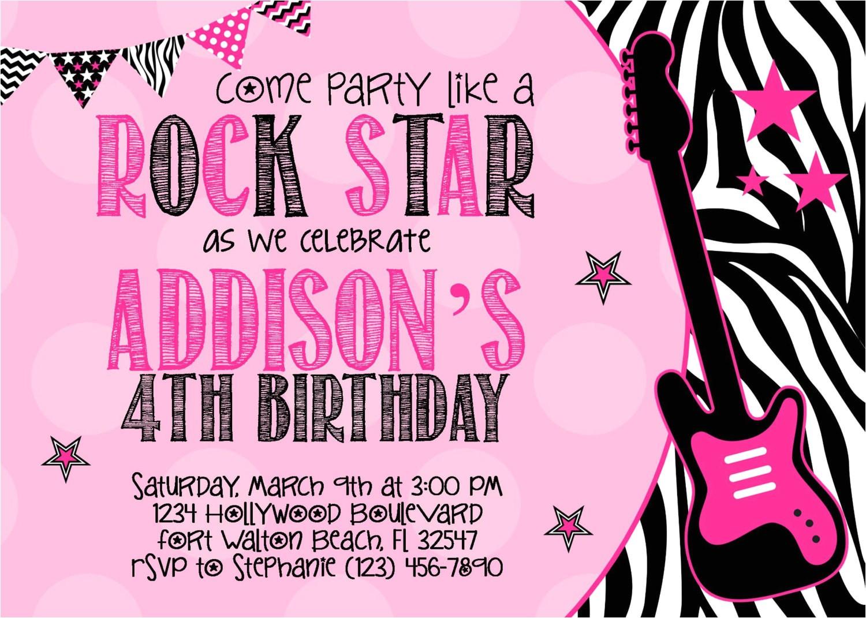 rock star 5x7 invitation girl birthday