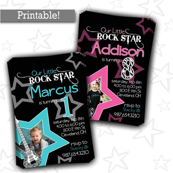 rock star birthday party invitation boy