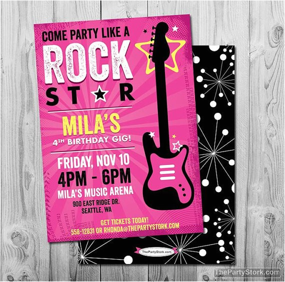 rock star birthday party invitation