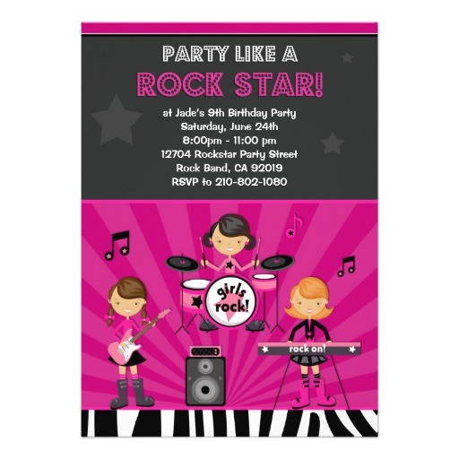 rock star girls birthday party invitation