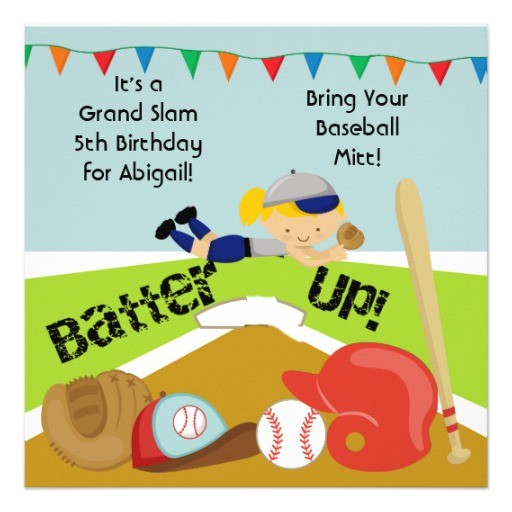 custom blond girl softball birthday invitation