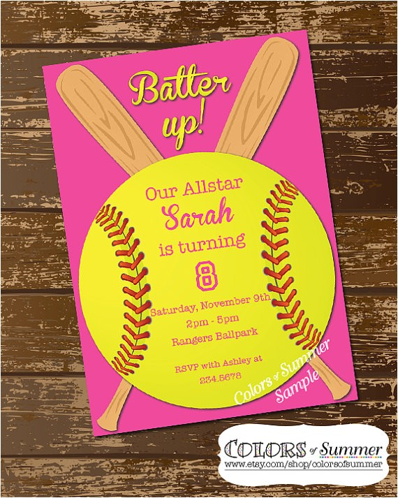 softball invitation birthday invitation