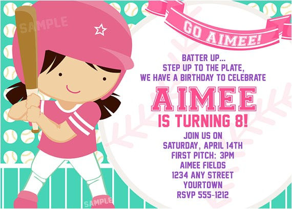 softball invitation for girls birthday