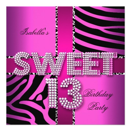 girls 13th birthday party invitations