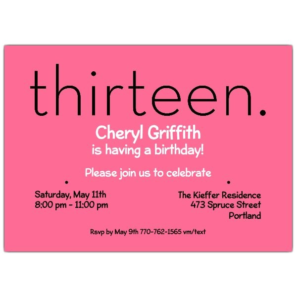 thirteen pink 13th birthday invitations p 610 75 285p