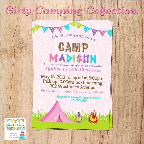 girly camping invitation birthday sleepover print