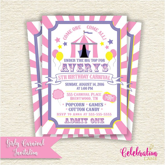 girly carnival birthday party printable