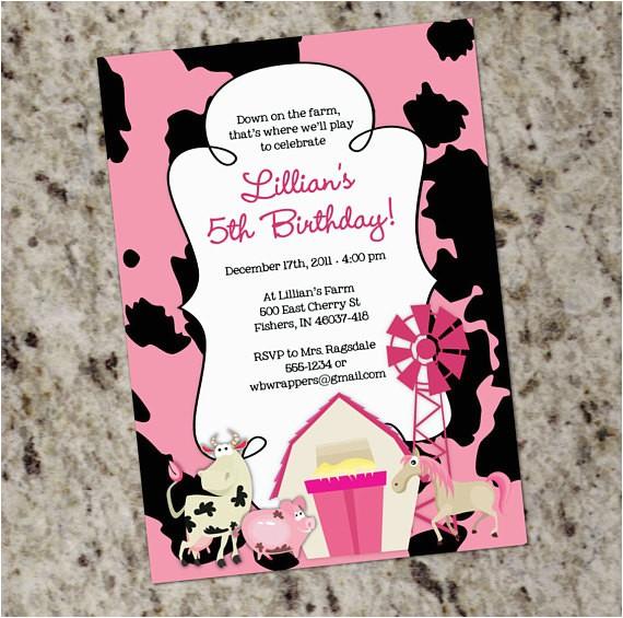 girly farm themed birthday party invitation
