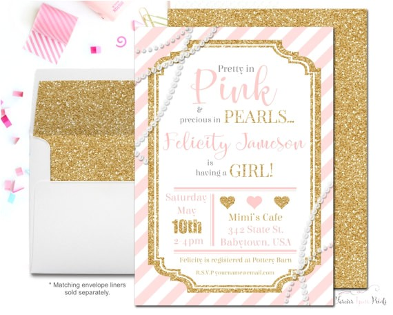 glitter pearls baby shower invitation pink