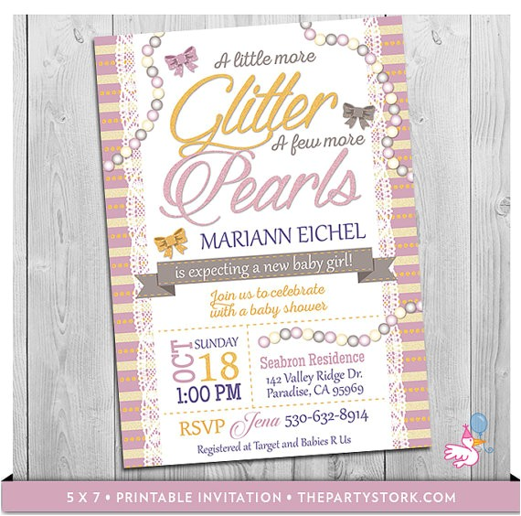 glitter pearls invitation printable personalized baby