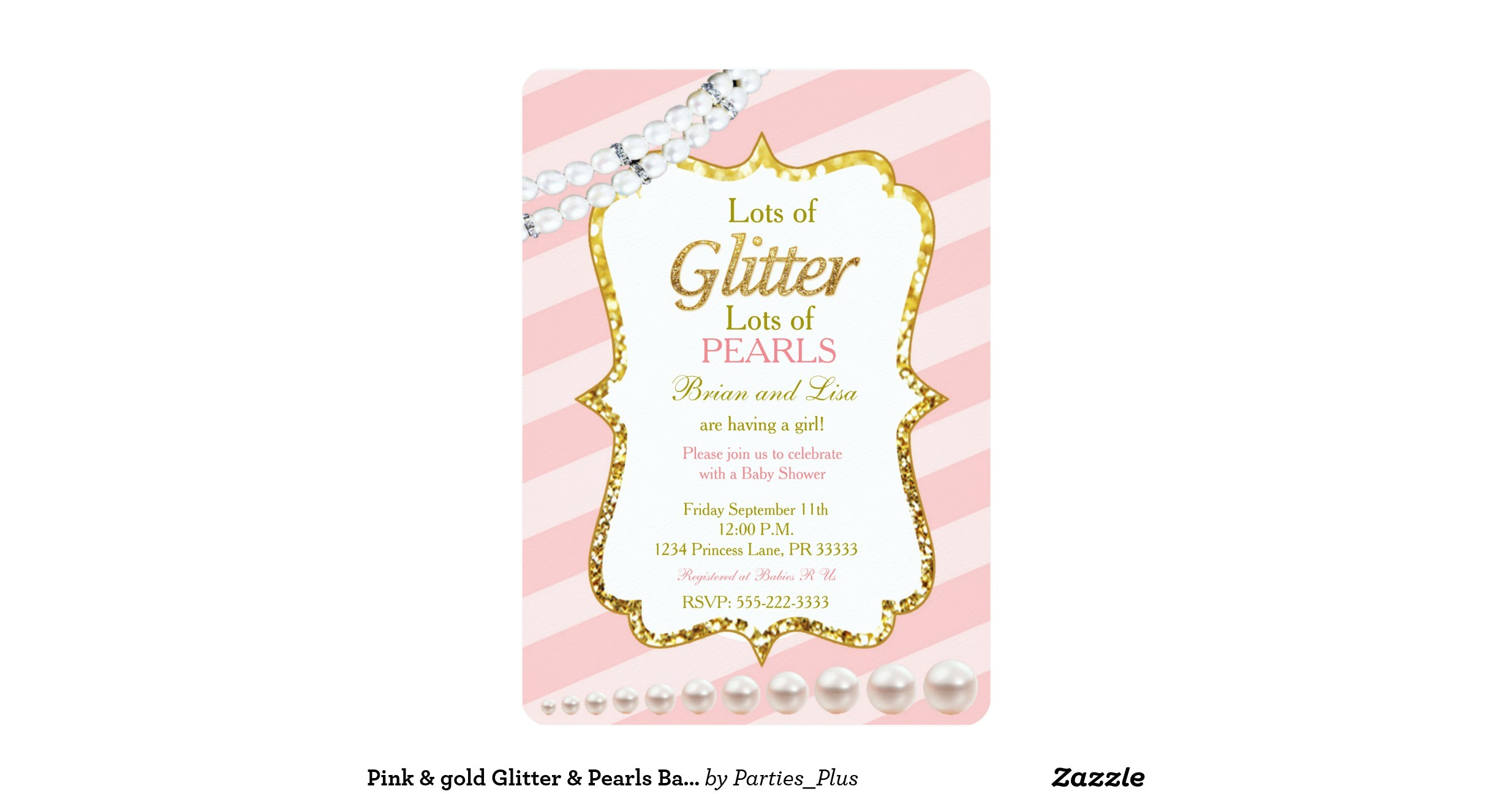 pink gold glitter pearls baby shower invites