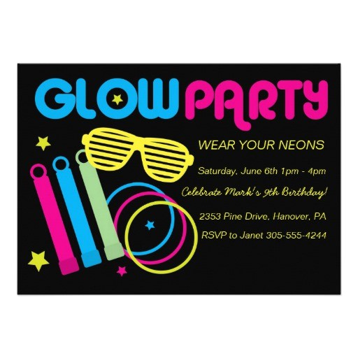 glow in dark birthday party invitations 161767480685524583