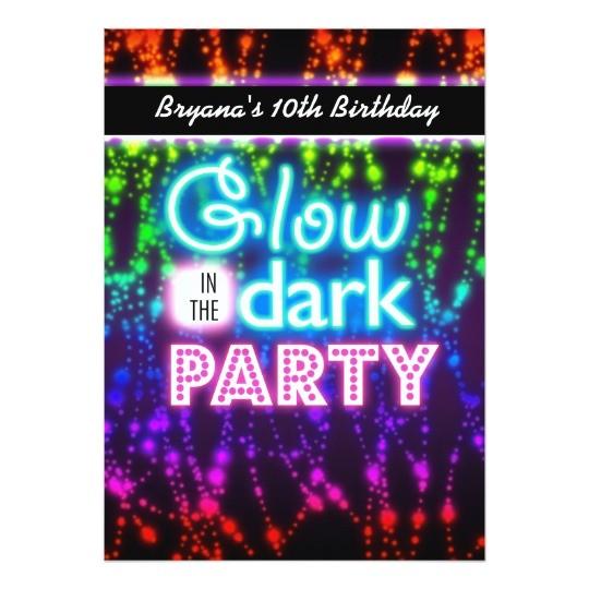 glow in the dark neon party invitations rainbow 161454347901520128
