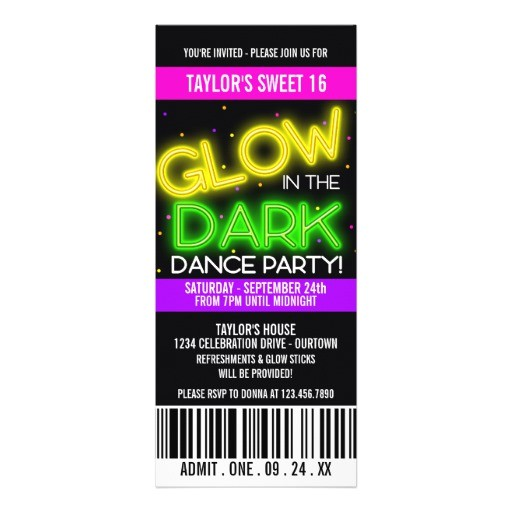 glow in the dark sweet 16 party invitation 161425187698395749