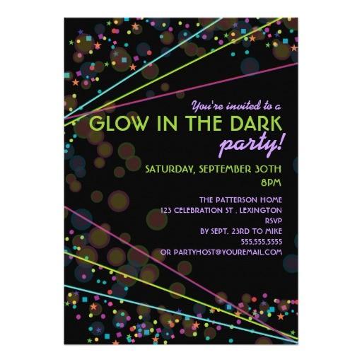 neon lights glow in the dark party invitation 161950669088165620
