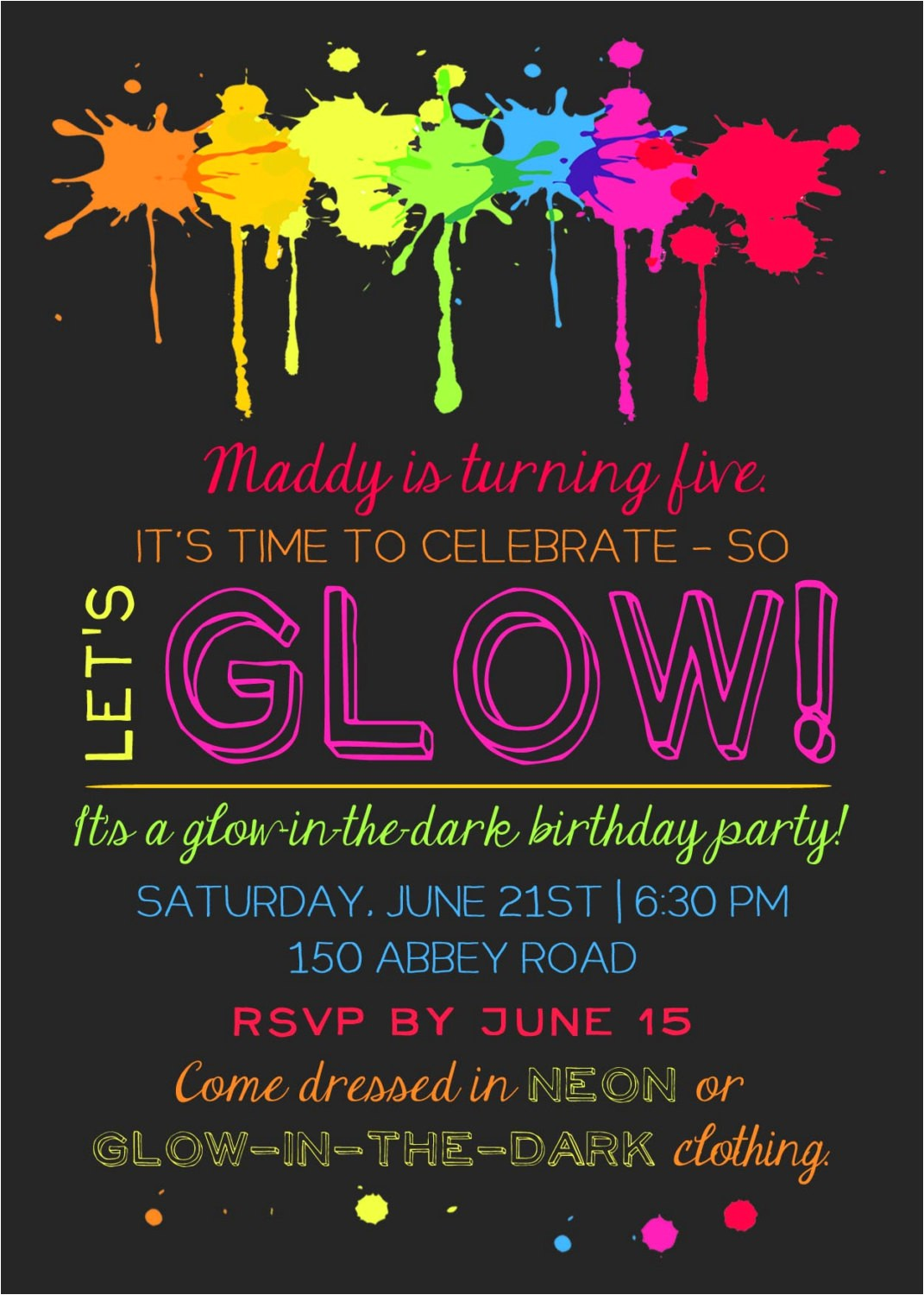 printable glow in the dark theme party