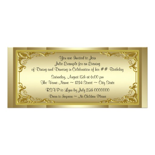 elegant golden ticket birthday party invitation 161758019494398973