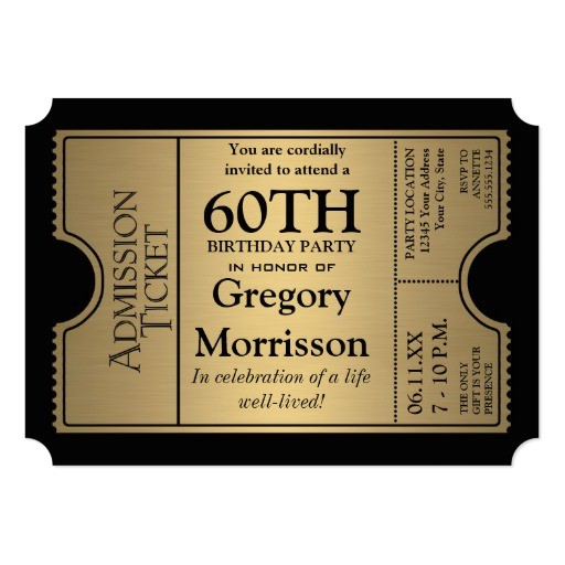golden ticket style 60th birthday party invite 161249980309681638
