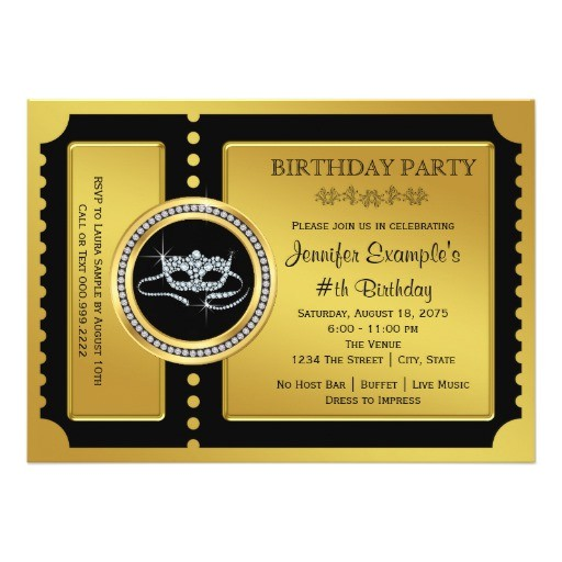 masquerade party golden ticket birthday party invitation 161388563458788314