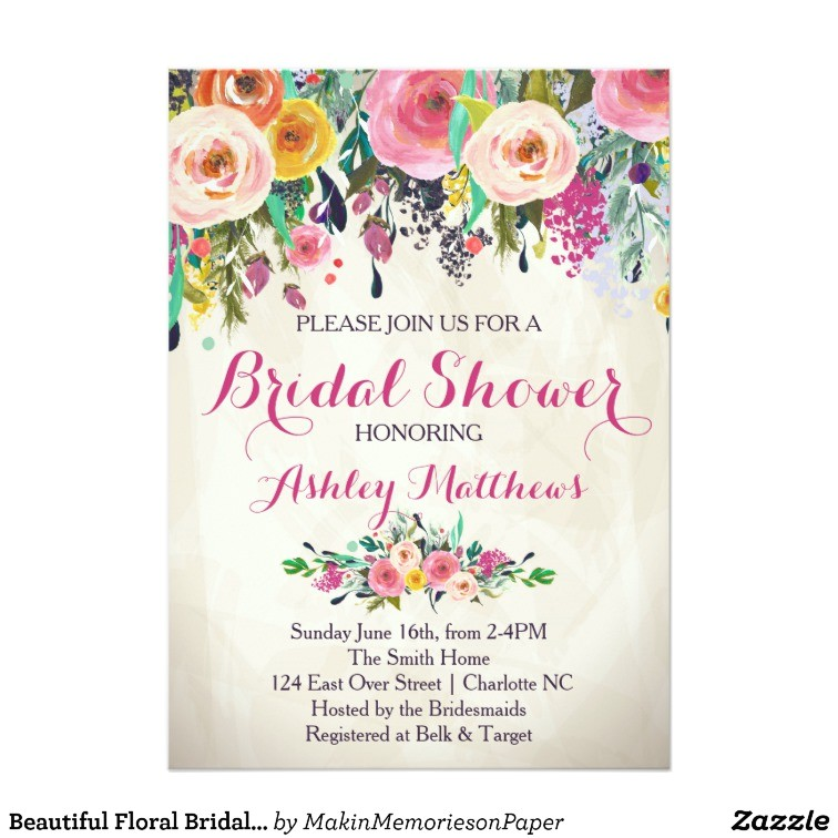 beautiful floral bridal shower invitation baby card