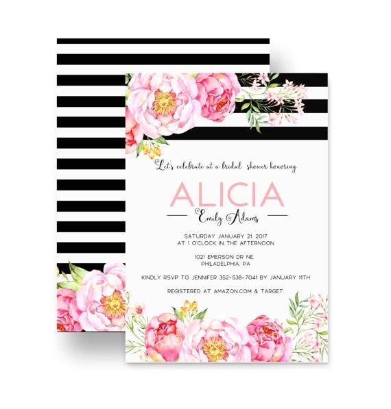 gorgeous bridal shower invitations floral black