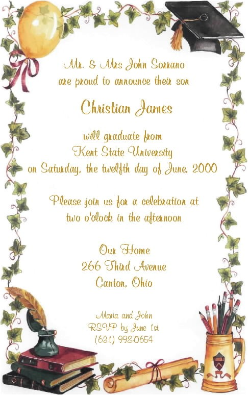 graduation party invite wording