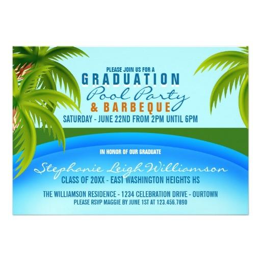 graduation pool party custom invitations