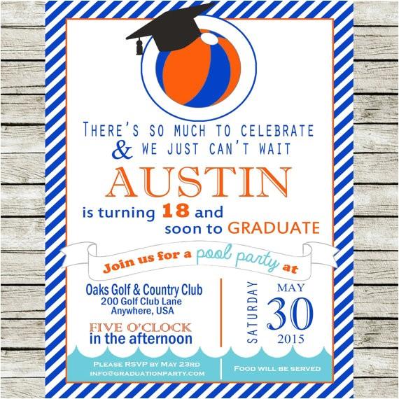 pool party graduation invitations