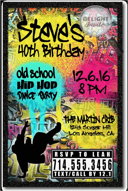 90s hip hop graffiti birthday invitations p 3037
