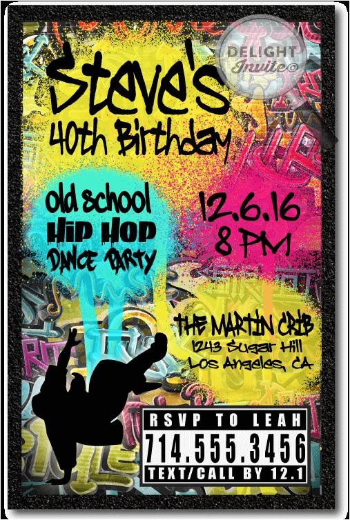 90s hip hop graffiti birthday invitations p 3037