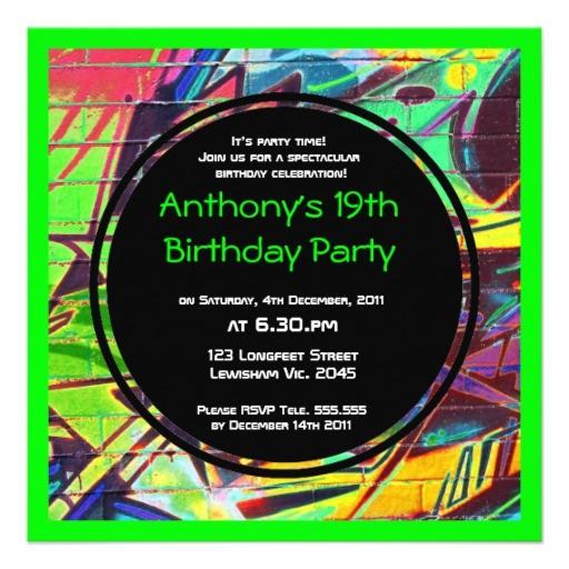 Graffiti Birthday Invitations Free Graffiti Birthday Invitation Zazzle