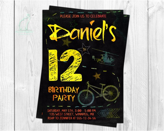 teen boy birthday invitation chalk