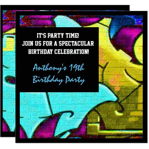 graffiti letters birthday invitation