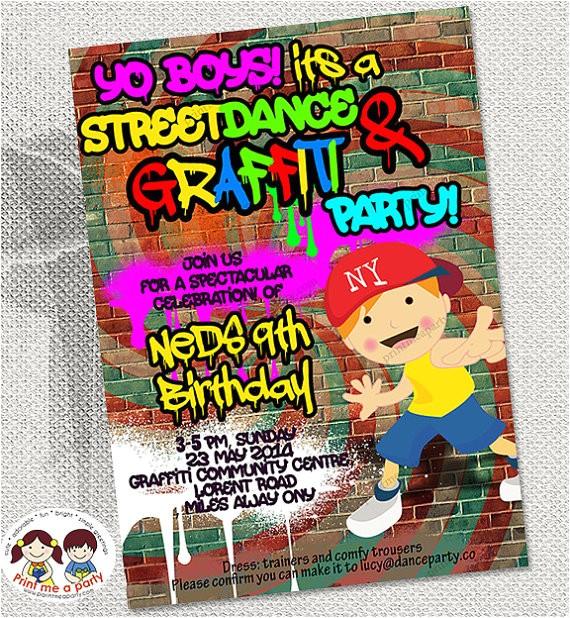 graffiti dance boys birthday party invitation