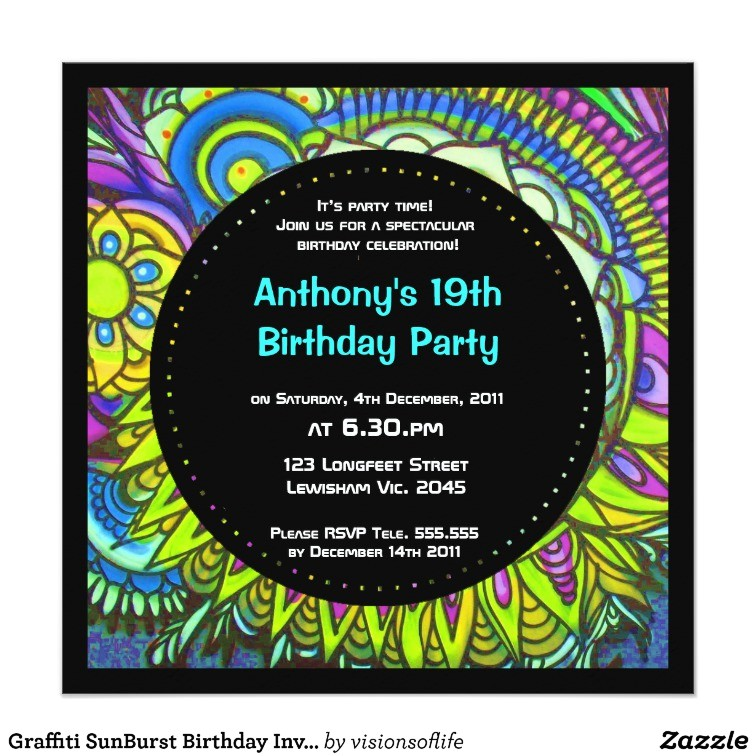 graffiti sunburst birthday invitation