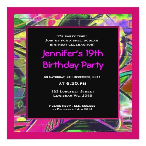 women graffiti birthday invitation