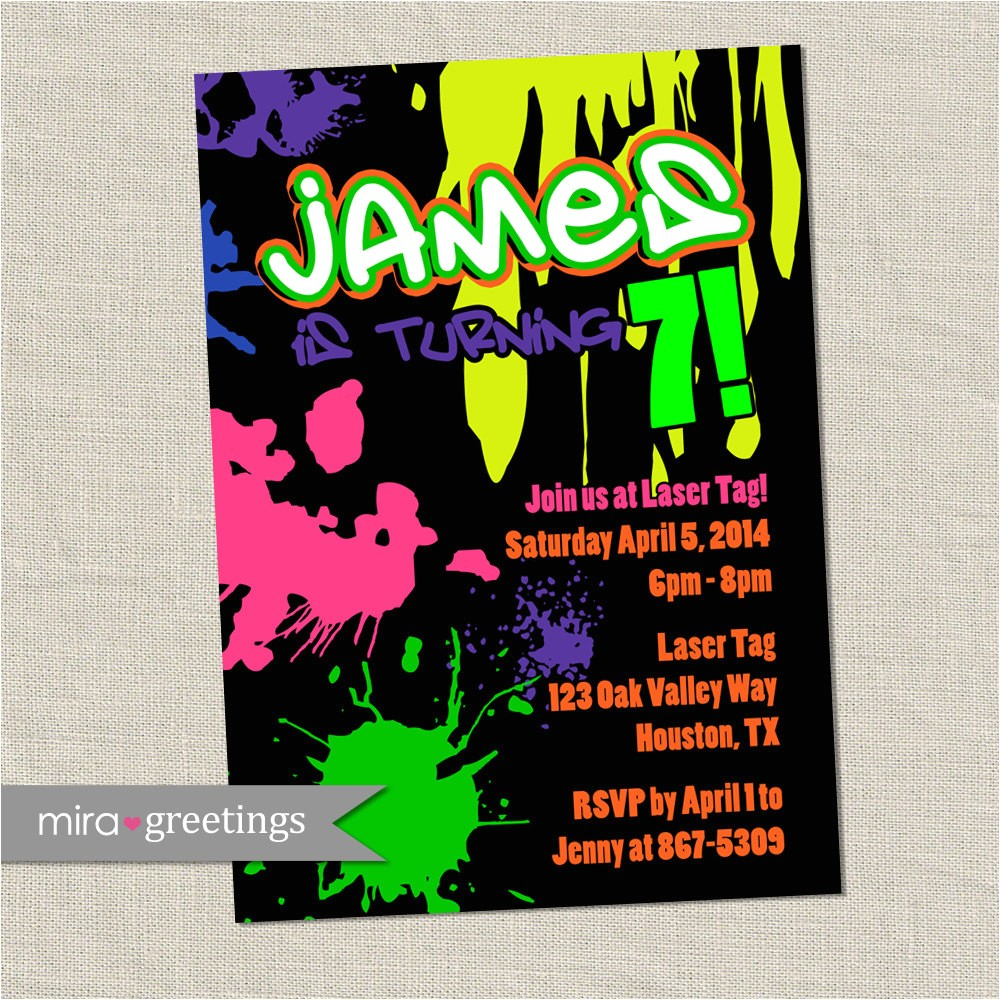 graffiti birthday party invite 80s