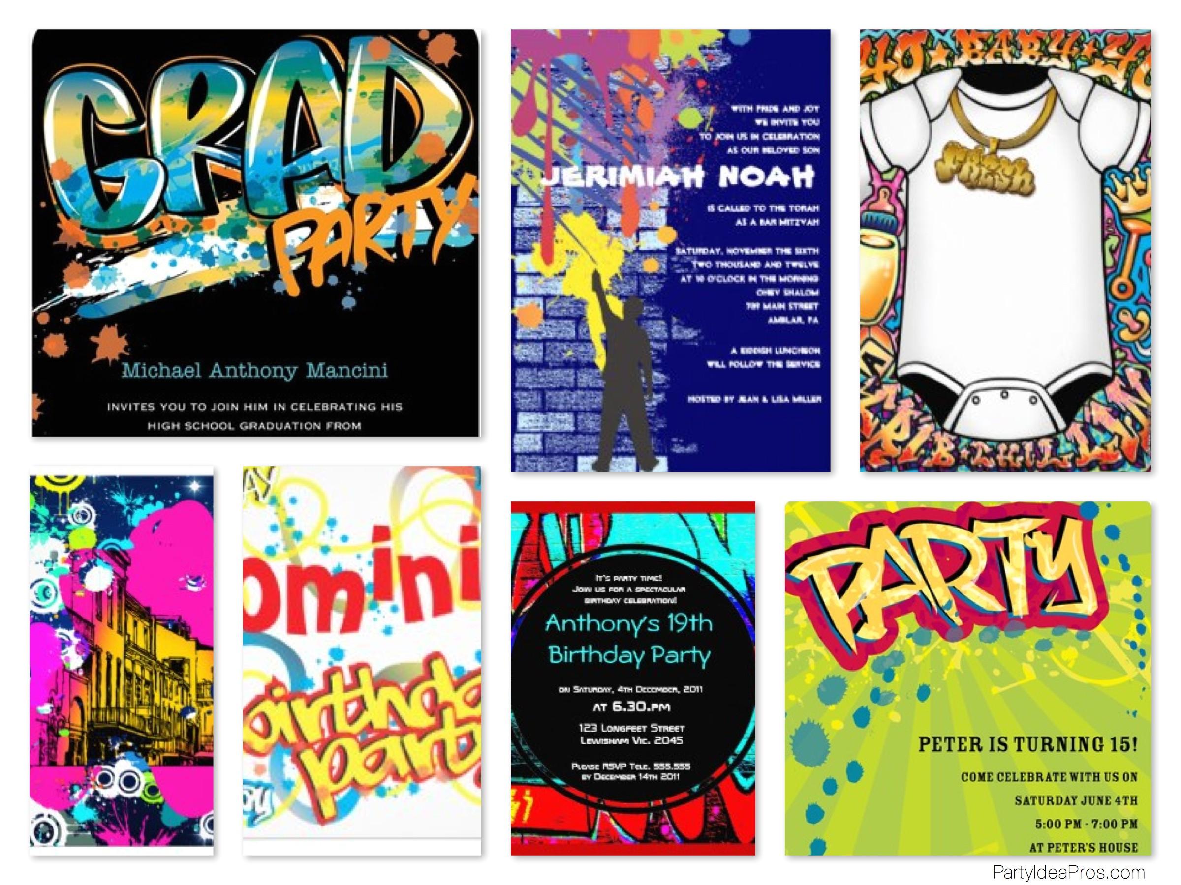 graffiti theme party invitations