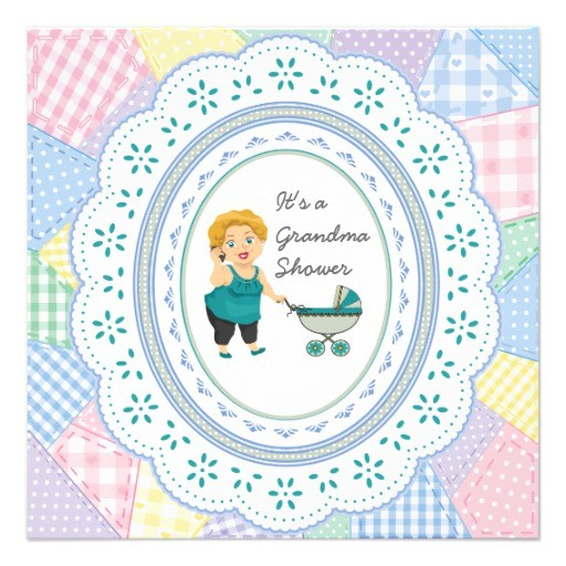 pastel quilt grandma baby shower invitations