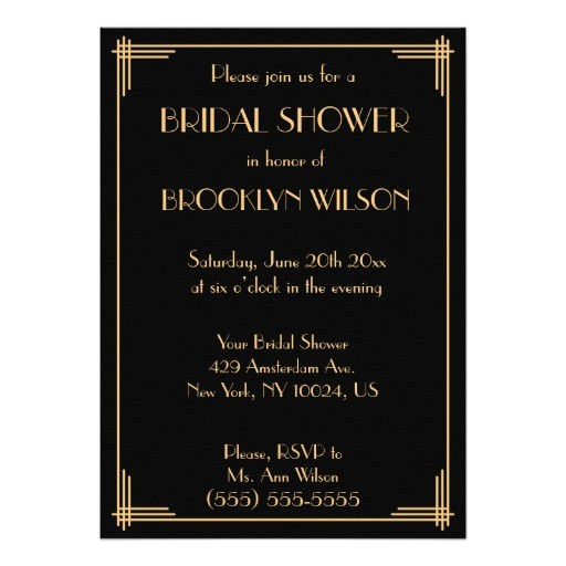 black great gatsby art deco bridal shower invites 256938419587410399