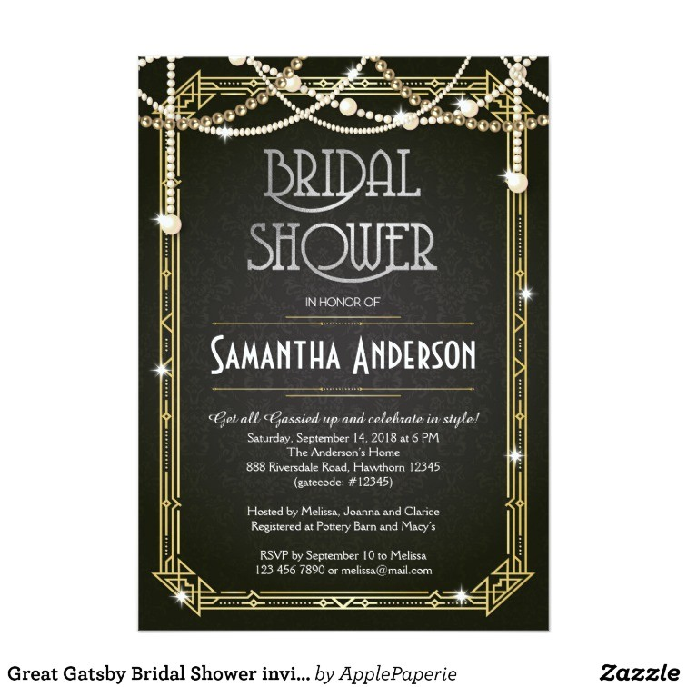 great gatsby bridal shower invitation art deco 256012126169718634