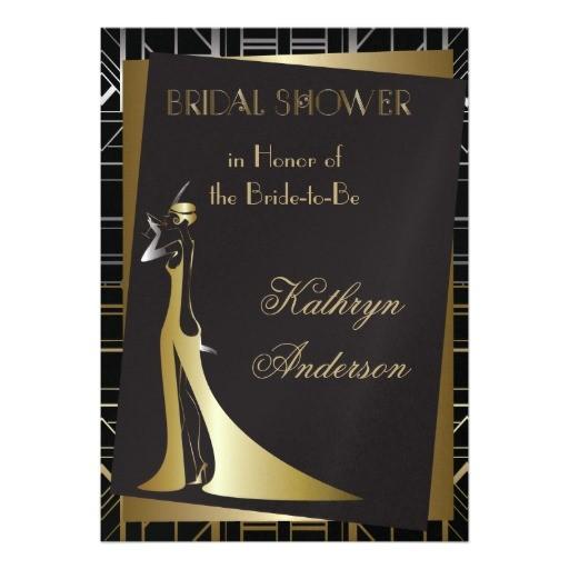 classic gatsby deco bridal shower invitation