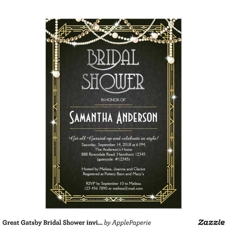 great gatsby bridal shower invitation art deco