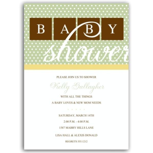 Baby Dots Green with Yellow Shower Invitations p 604 57 BBDGY